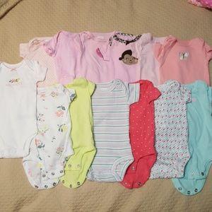 Newborn lot of Carter's 13 onsies girls
